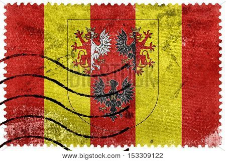 Flag Of Lodz Voivodeship With Coat Of Arms, Poland, Old Postage Stamp