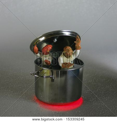 Humorous image of Star Wars Admiral Gial Ackbar action figures boiling in a stew pot, playing on the tag line