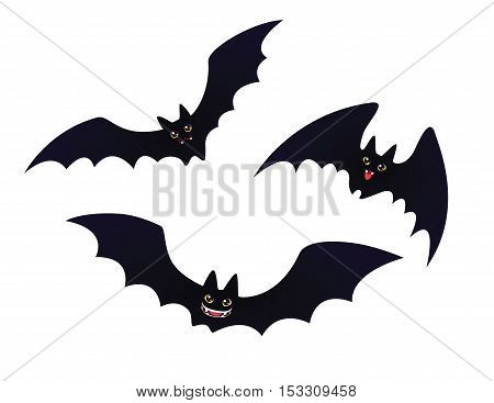 Cute flying and smiling Bats. Set of funny bats for Halloween in flat cartoon style isolated on a white background. Vector illustration.  Element for your design, print and artwork.
