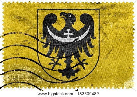 Flag Of Lower Silesian Voivodeship With Coat Of Arms, Poland, Old Postage Stamp