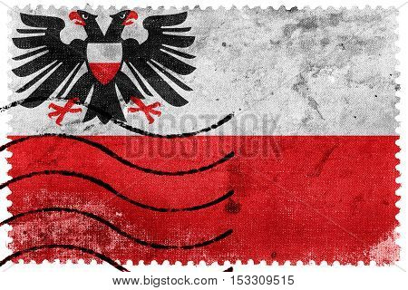 Flag Of Lubeck, Germany, Old Postage Stamp