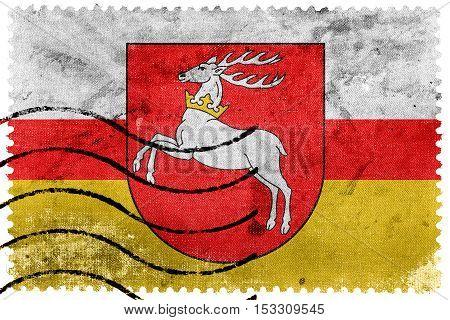 Flag Of Lublin Voivodeship, Poland, Old Postage Stamp