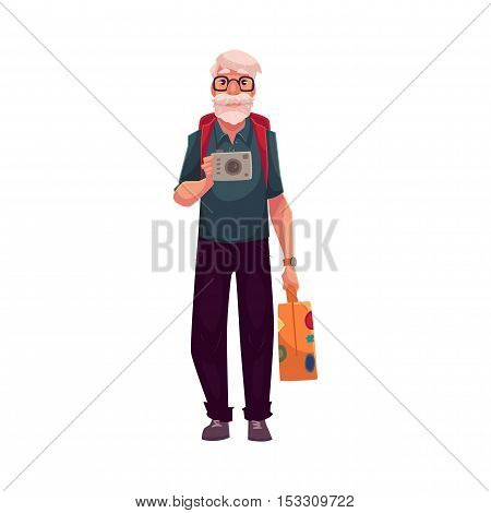 Senior, old grey-haired man travelling with backpack, suitcase and camera, cartoon vector illustration isolated on white background. Full height portrait of elder hippie man on a trip