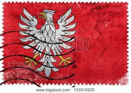 Flag Of Masovian Voivodeship, Poland, Old Postage Stamp
