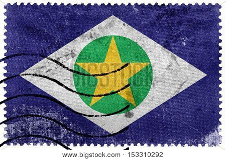 Flag Of Mato Grosso State, Brazil, Old Postage Stamp