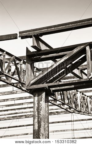 Old iron structure of an old abandoned factory of nineteenth century