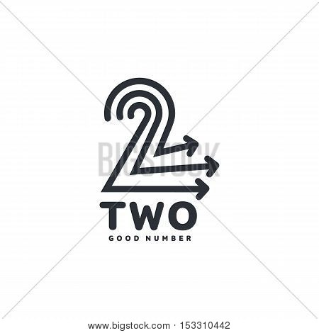 Black and white number two logo formed by three arrows, vector illustrations isolated on white background. Black and white graphic number two logotype template