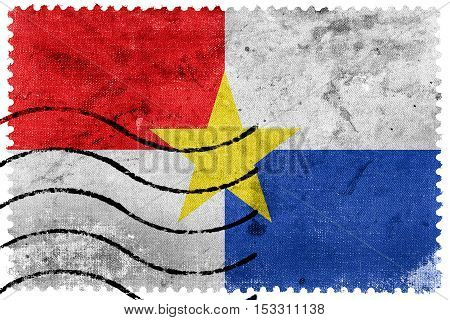 Flag Of Monteria, Colombia, Old Postage Stamp