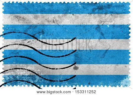 Flag Of Most City, Czechia, Old Postage Stamp