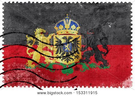Flag Of Nijmegen With Coat Of Arms, Netherlands, Old Postage Stamp