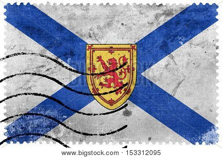 Flag Of Nova Scotia Province, Canada, Old Postage Stamp