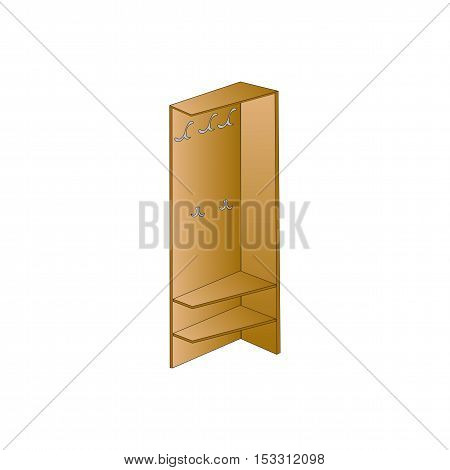 Vector illustration Wardrobe and wooden shelves for clothes