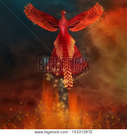 Phoenix arising from a grave - 3D illustration