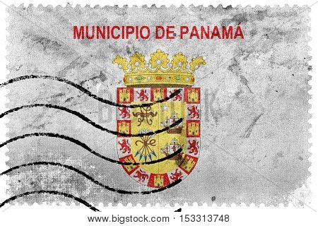 Flag Of Panama City, Panama, Old Postage Stamp