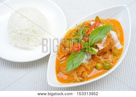 Panaeng or Meat in Spicy Coconut Cream,Thailand famous food