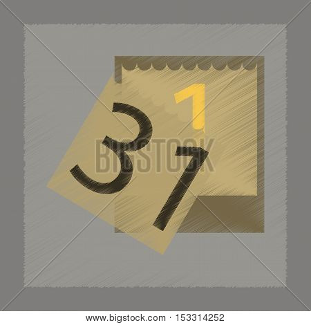 flat shading style icon of tear-off calendar