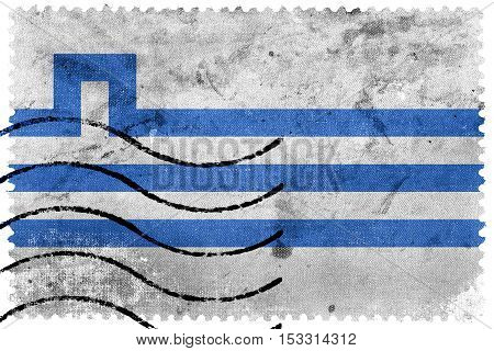 Flag Of Podgorica, Montenegro, Old Postage Stamp