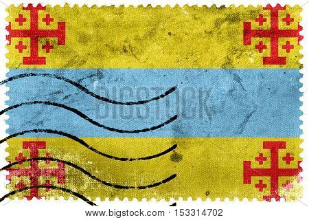 Flag Of Popayan, Colombia, Old Postage Stamp