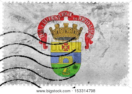 Flag Of Porto Alegre, Rio Grande Do Sul, Brazil, Old Postage Stamp