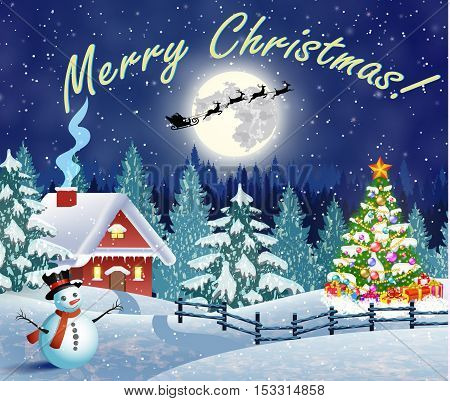 Christmas landscape with christmas tree and snowman with gifbox. background with moon and the silhouette of Santa Claus flying on a sleigh. concept for greeting or postal card, vector illustration