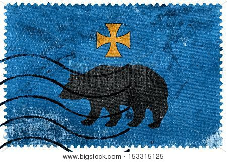 Flag Of Przemysl, Poland, Old Postage Stamp