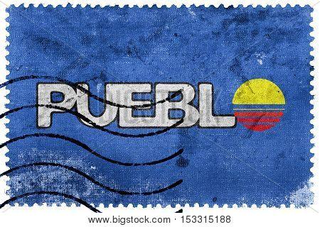 Flag Of Pueblo, Colorado, Usa, Old Postage Stamp