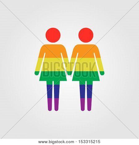 Lessbian couple vector icon LGBT rainbow flag vector icon lessbian marriage
