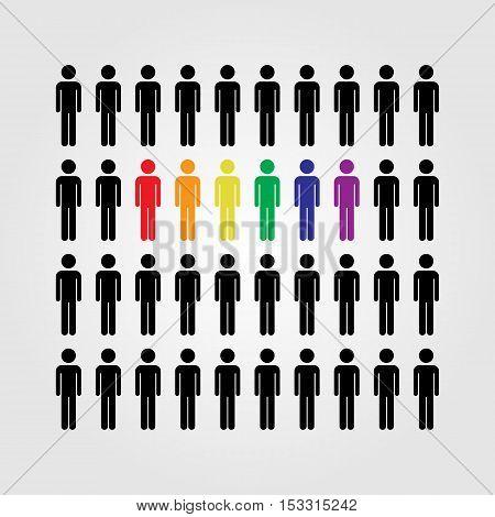 LGBT people vector icon LGBT rainbow flag