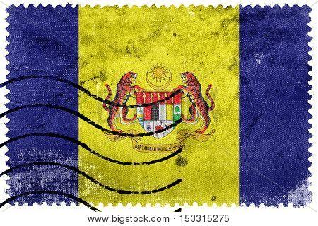 Flag Of Putrajaya, Malaysia, Old Postage Stamp