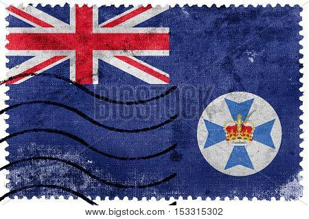 Flag Of Queensland State, Australia, Old Postage Stamp