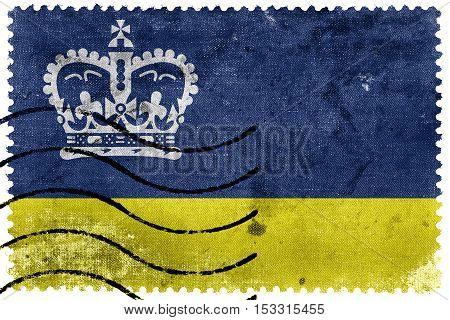 Flag Of Regina, Canada, Old Postage Stamp