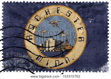 Flag Of Rochester, Minnesota, Usa, Old Postage Stamp