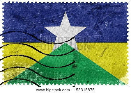 Flag Of Rondonia State, Brazil, Old Postage Stamp