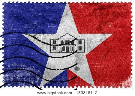 Flag Of San Antonio, Texas, Usa, Old Postage Stamp