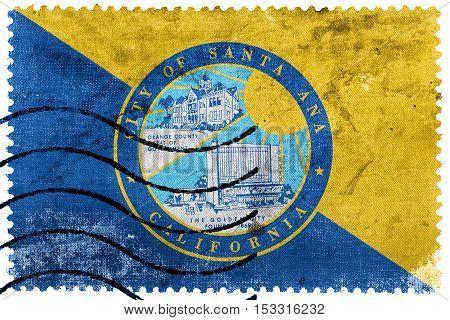 Flag Of Santa Ana, California, Usa, Old Postage Stamp