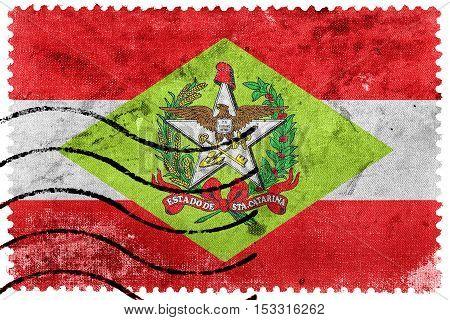 Flag Of Santa Catarina State, Brazil, Old Postage Stamp