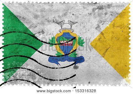 Flag Of Santa Leopoldina, Espirito Santo State, Brazil, Old Postage Stamp