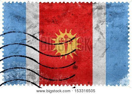 Flag Of Santiago Del Estero Province, Argentina, Old Postage Stamp