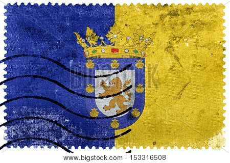 Flag Of Santiago, Chile, Old Postage Stamp