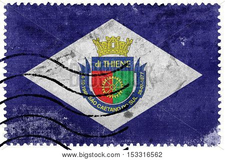 Flag Of Sao Caetano, Sao Paulo, Brazil, Old Postage Stamp