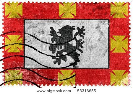 Flag Of Sao Vicente, Sao Paulo, Brazil, Old Postage Stamp