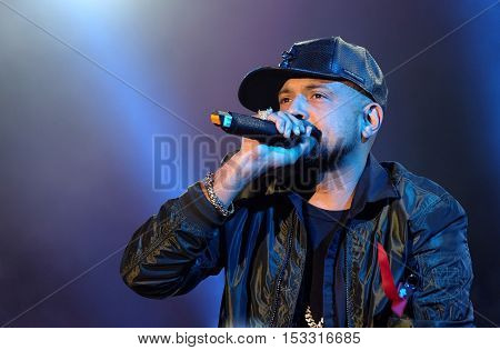 NEWPORT, ISLE OF WIGHT, UK - SEPTEMBER 11 2016: Sean Paul, Jamaican rapper performing on stage at Bestival festival on the Isle of Wight