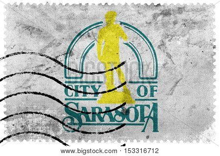 Flag Of Sarasota, Florida, Usa, Old Postage Stamp