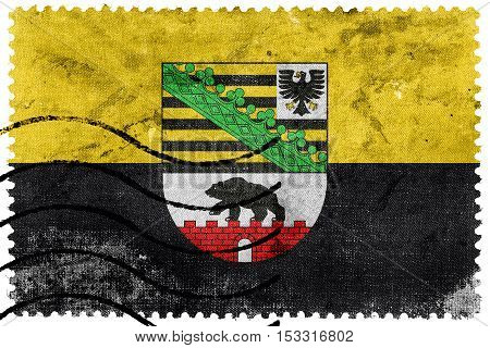 Flag Of Saxony-anhalt With Coat Of Arms, Germany, Old Postage Stamp