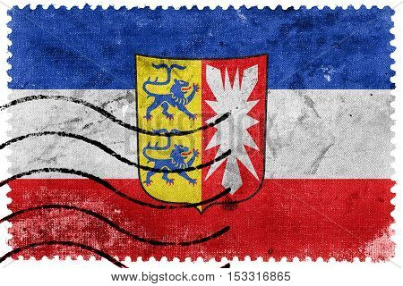 Flag Of Schleswig-holstein With Coat Of Arms, Germany, Old Postage Stamp