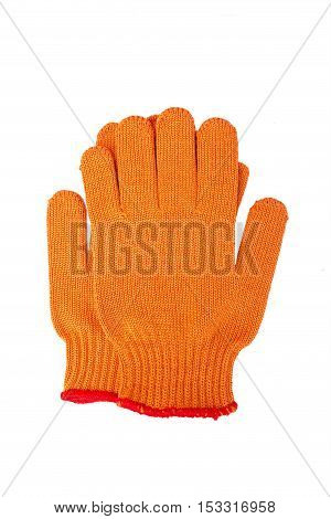 new Work Gloves Isolated On White. orange colors