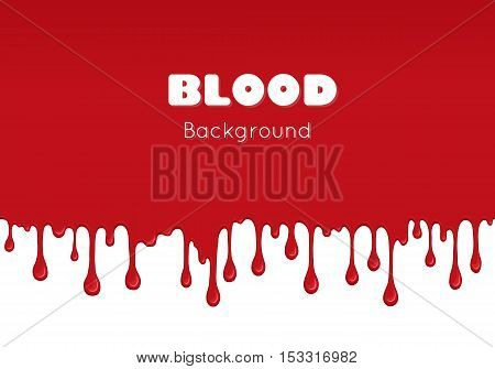 Background with drips and flow of blood. Abstract splash of red liquid. wet surface with paint drops. Bloody and scary design for Halloween or illustration of crime.