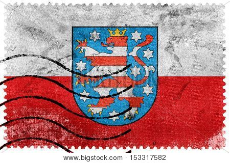 Flag Of Thuringia With Coat Of Arms, Germany, Old Postage Stamp