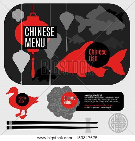 Set of flat, vector elements for corporate identity chinese restaurant.Logo for restaurant, cafe, menu. Cartoon food plate, top view, silhouette.