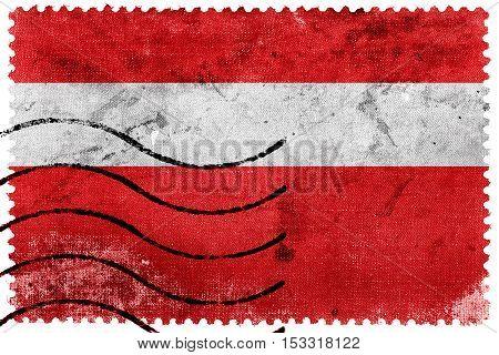 Flag Of Vaduz, Lichtenstein, Old Postage Stamp